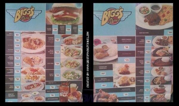 biggs diner naga restaurant menu