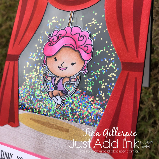 scissorspapercard, Stampin' Up!, Kindred Stamps, Just Add Ink, Showstopper, Stage Builder Stencil, Wood Textures DSP, Copics, Stampin' Blends
