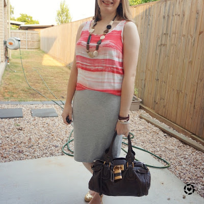 awayfromblue Instagram | casual summer office outfit striped tank jersey pencil skirt chloe paddington bag