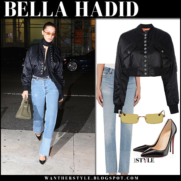 Bella Hadid in cropped black bomber jacket alexander wang and jeans nyfw street style february 12