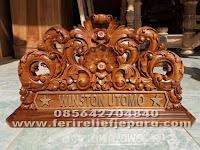 papan nama meja ukir kayu jati
