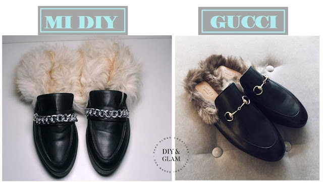 Diy mocasines peludos de Gucci