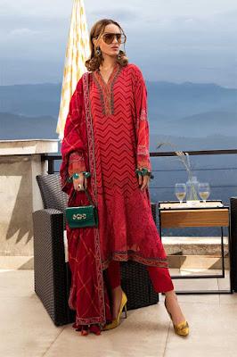 Maria B unstitched Linen Fuchsia Pink Color Dress