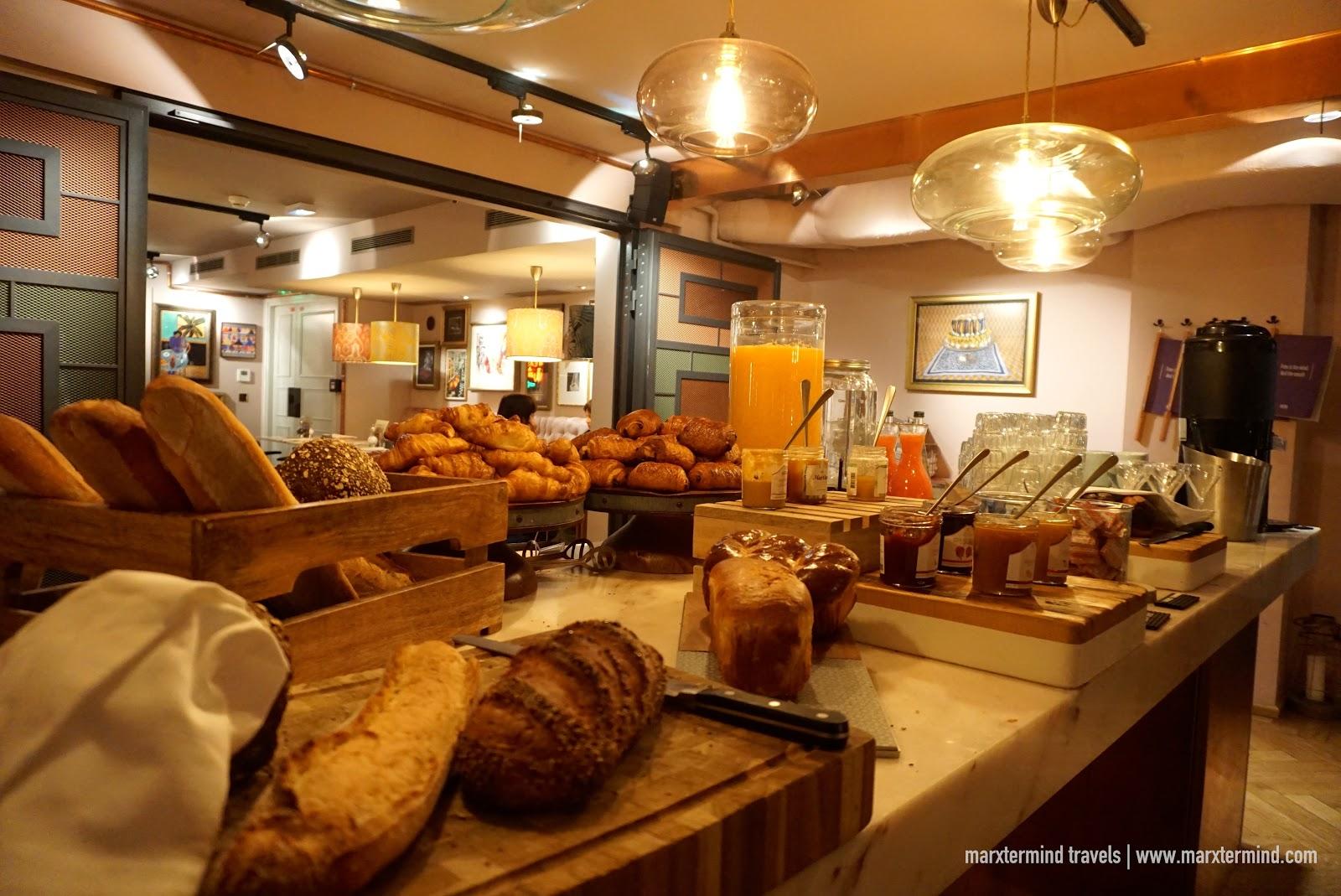 Breakfast spread at Neni Paris
