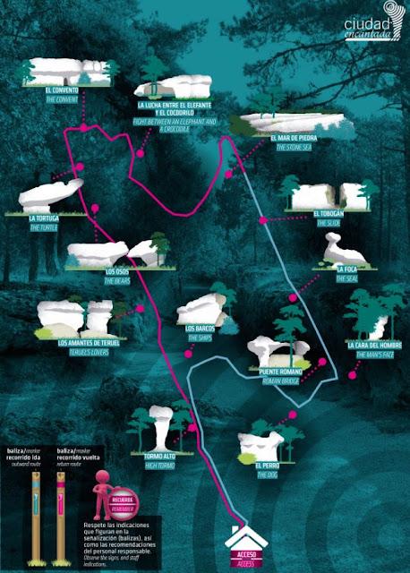 mapa itinerario Ciudad Encantada Cuenca