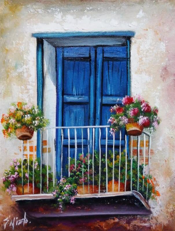 Cuadros modernos pinturas y dibujos cuadros de balcones for Balcones decorados con plantas