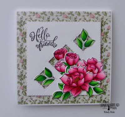 Our Daily Bread Designs Stamp/Die Duos: Hello Friend, Custom Dies:  Double Stitched Squares, Paper Collection: Romantic Roses