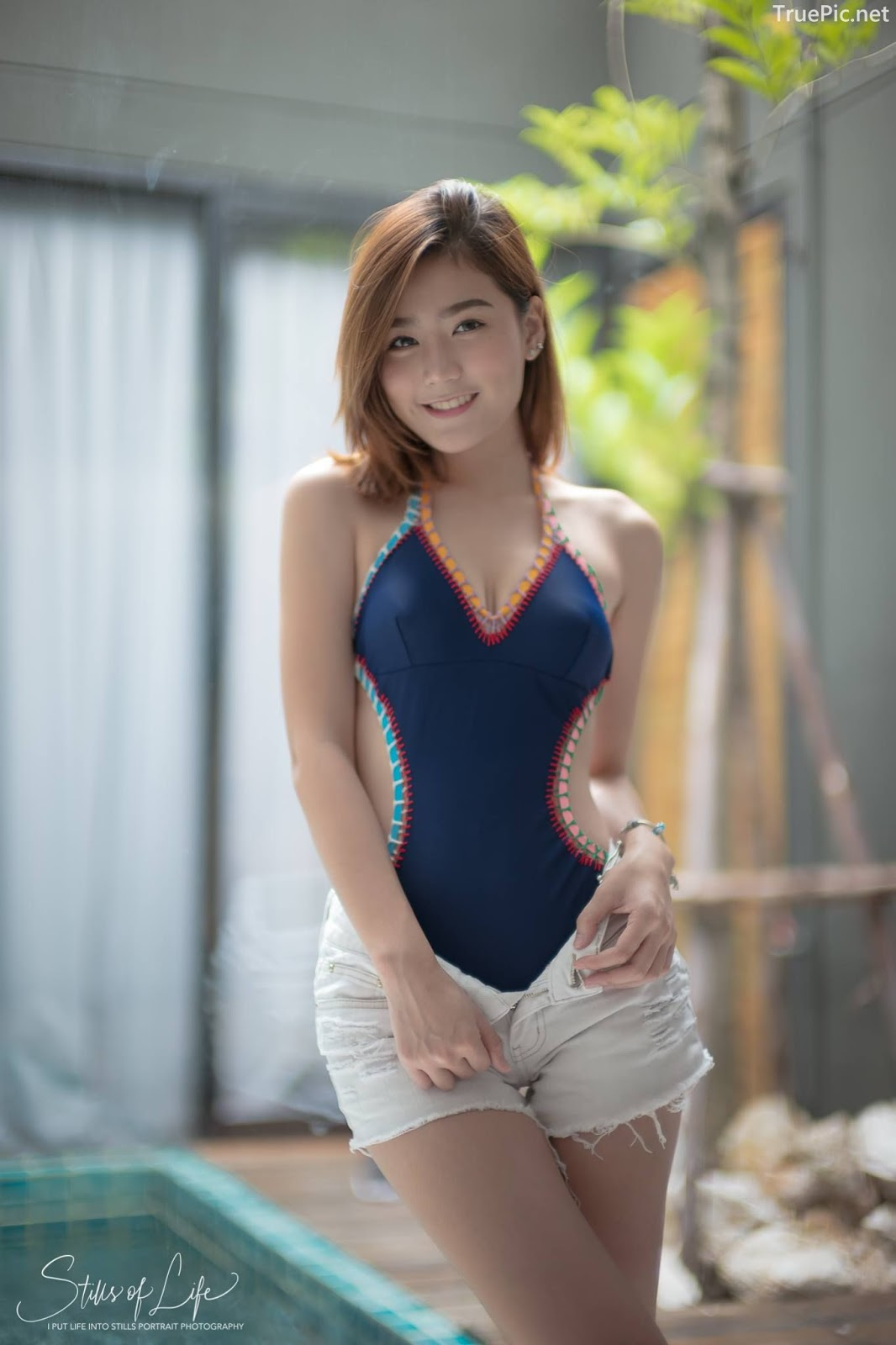 Thailand model - Pattaravadee Boonmeesup - Earn Blue Swimsuit