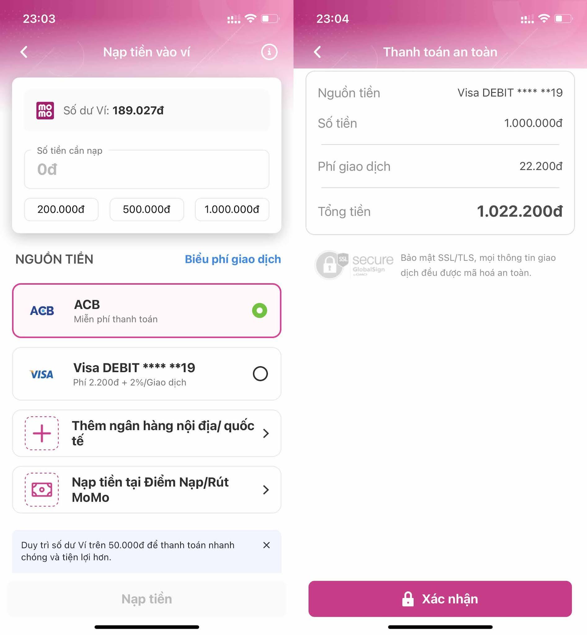 Cách thay đổi số điện thoại trên Ví Momo
