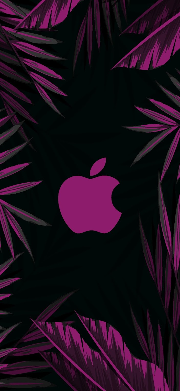 aesthetic apple logo jungle style wallpaper purple dark