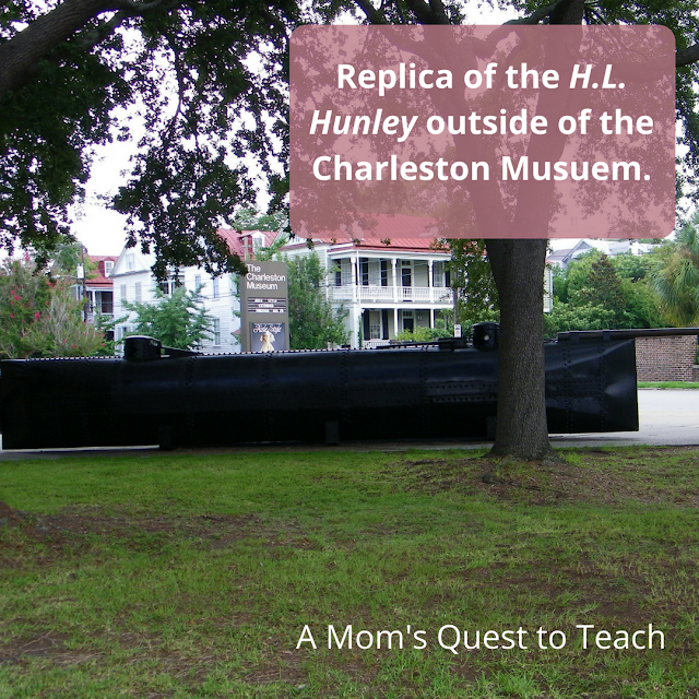 photography of a replica of the Hunley outside the Charleston Museum