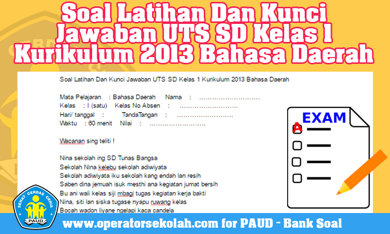 Soal Latihan Dan Kunci Jawaban UTS SD Kelas 1 Kurikulum 2013 Bahasa Daerah