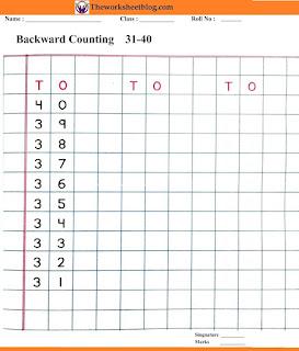 Backward counting 40-31 worksheets