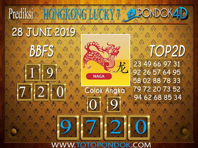 Prediksi Togel HONGKONG LUCKY 7 PONDOK4D 28 JUNI 2019