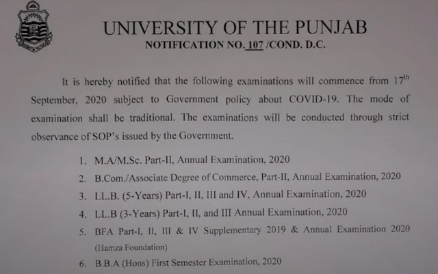 Punjab University BA BSc MA MSc LLB BBA Traditional Exams Annual 2020 Schedule
