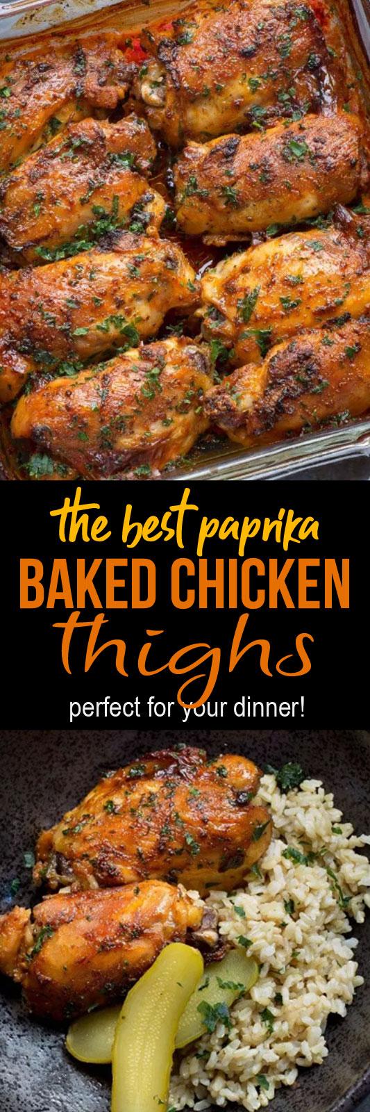 Paprika Baked Chicken Thighs #chicken #dinner #lunch