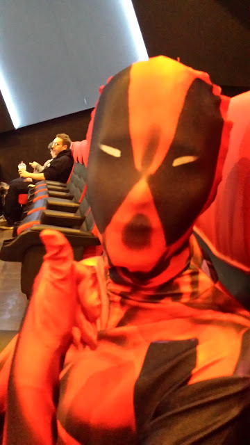 out and about in a deadpool morphsuit movie