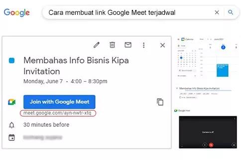 cara membuat link google meet terjadwal untuk besok
