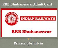 RRB Bhubaneswar Admit Card