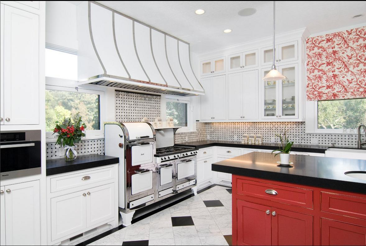 Delorme Designs White Kitchen Black And Red Accents