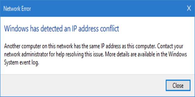 كمبيوتر آخر على هذه الشبكة لديه نفس عنوان IP