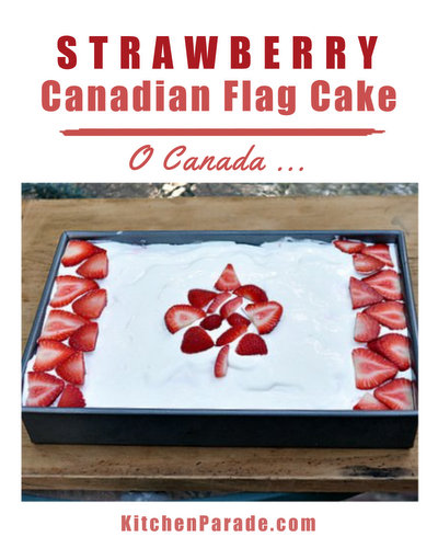 Canadian Flag Cake ♥ KitchenParade.com, use strawberries to decorate a cake with the Canadian flag.