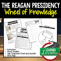 President Reagan, Progressive Era, American History Activity, American History Interactive Notebook, American History Wheel of Knowledge