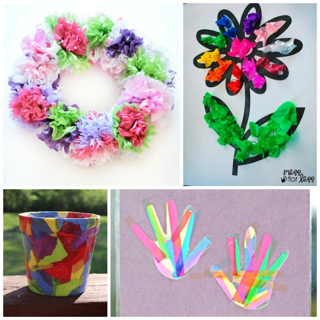 Over 30 Beautiful Tissue Paper Crafts For Kids. Suncatchers, flowers, collages, kid-made gifts, party decorations, process art, seasonal choices, and more!