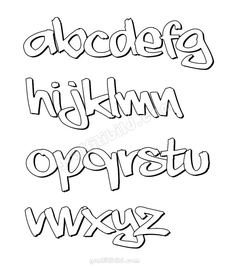 graffiti schrift abc kleinbuchstaben, graffiti alphabet, graffiti abc, graffiti letters