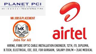 Bharti Airtel Ltd Urgent Requirements Fiber Optic Splicer & Installation Engineer, Maintenance Engineer , for ITI/ Diploma/ B. Tech Candidates
