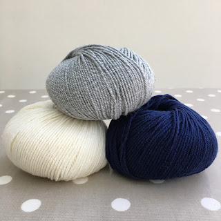 Three balls of yarn stacked on top of each other