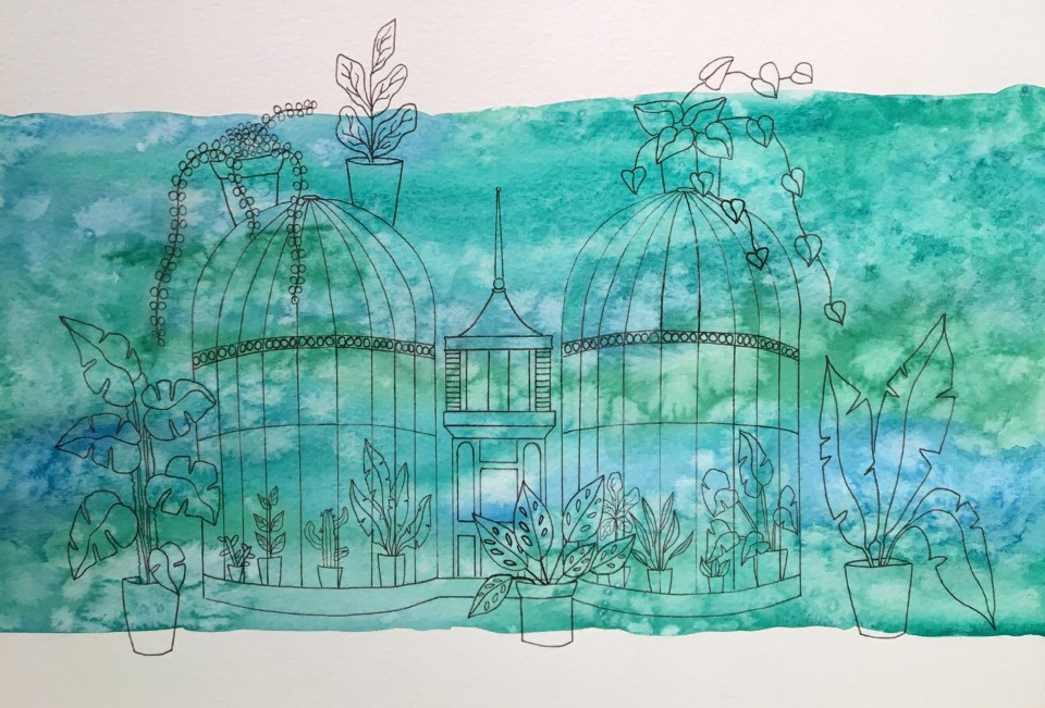 ARTWORK BY THE CRAFTY BRUM SHOWING THE BIRMINGHAM BOTANICAL GARDENS