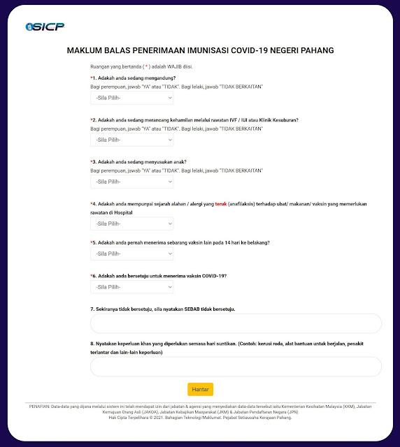 daftar vaksin imunisasi covid-19 pahang