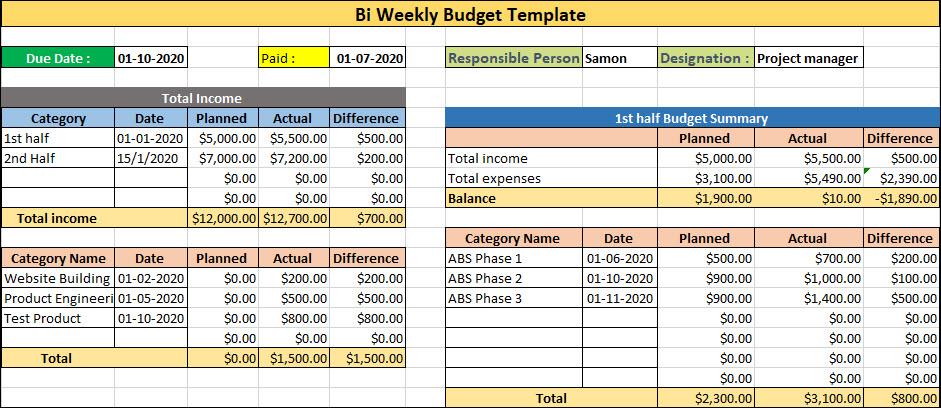 Bi Weekly Budget Template, Bi Weekly Budget