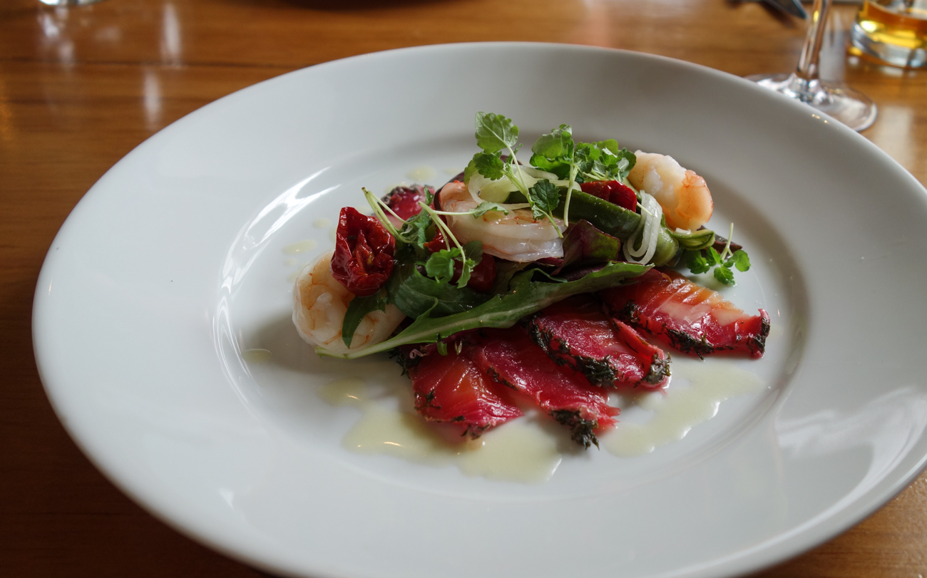 Beetroot Cured Gravadlax, Tiger Prawns & Lemon Dressing
