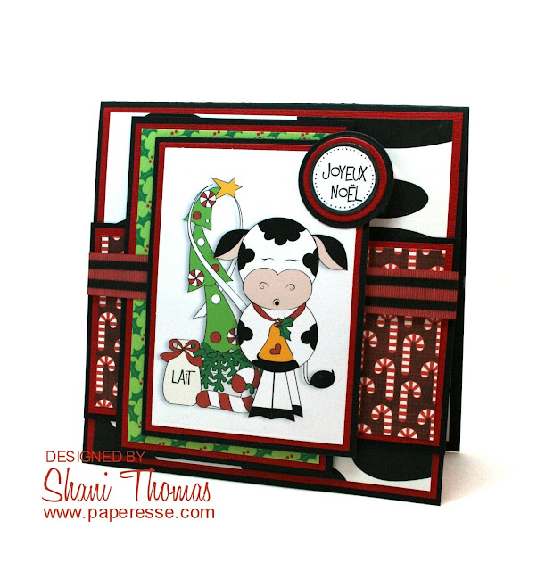Swiss Christmas Cow card, with Digi Web Studio Christmas Cows 1 topper, by Paperesse.