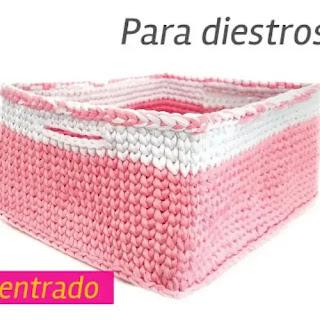 Cesto Rectangular a Crochet