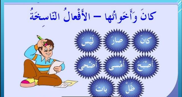 مذكرة لغة عربية كان وأخواتها الأفعال الناسخة للصف العاشر