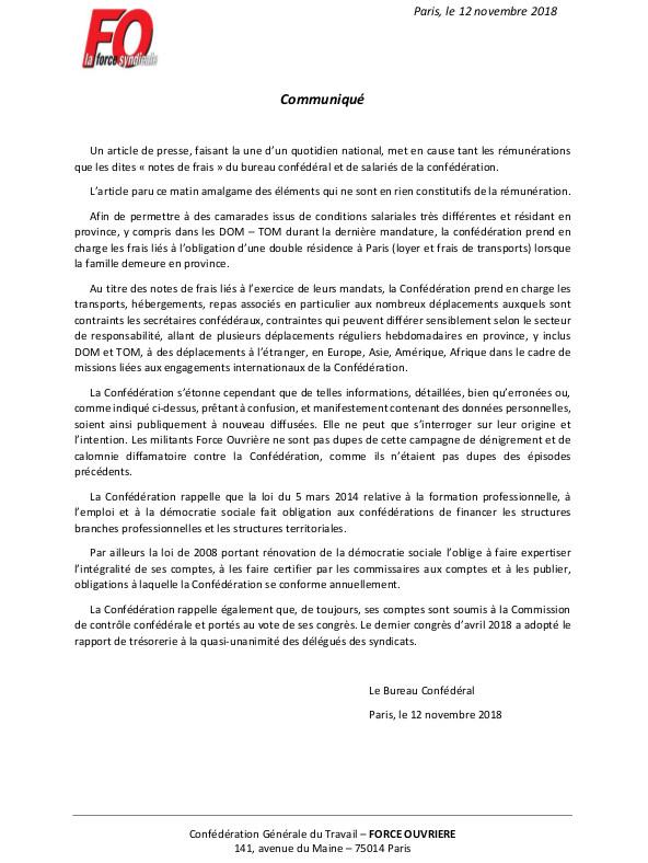 COMMUNIQUÉ DU BUREAU CONFÉDÉRAL le 12 octobre 2018