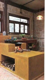 dapur rumah dengan tungku kayu moderen