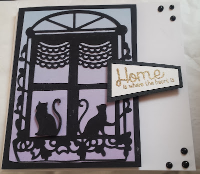 Home is where the heart is - New home card - Cats in silhouette