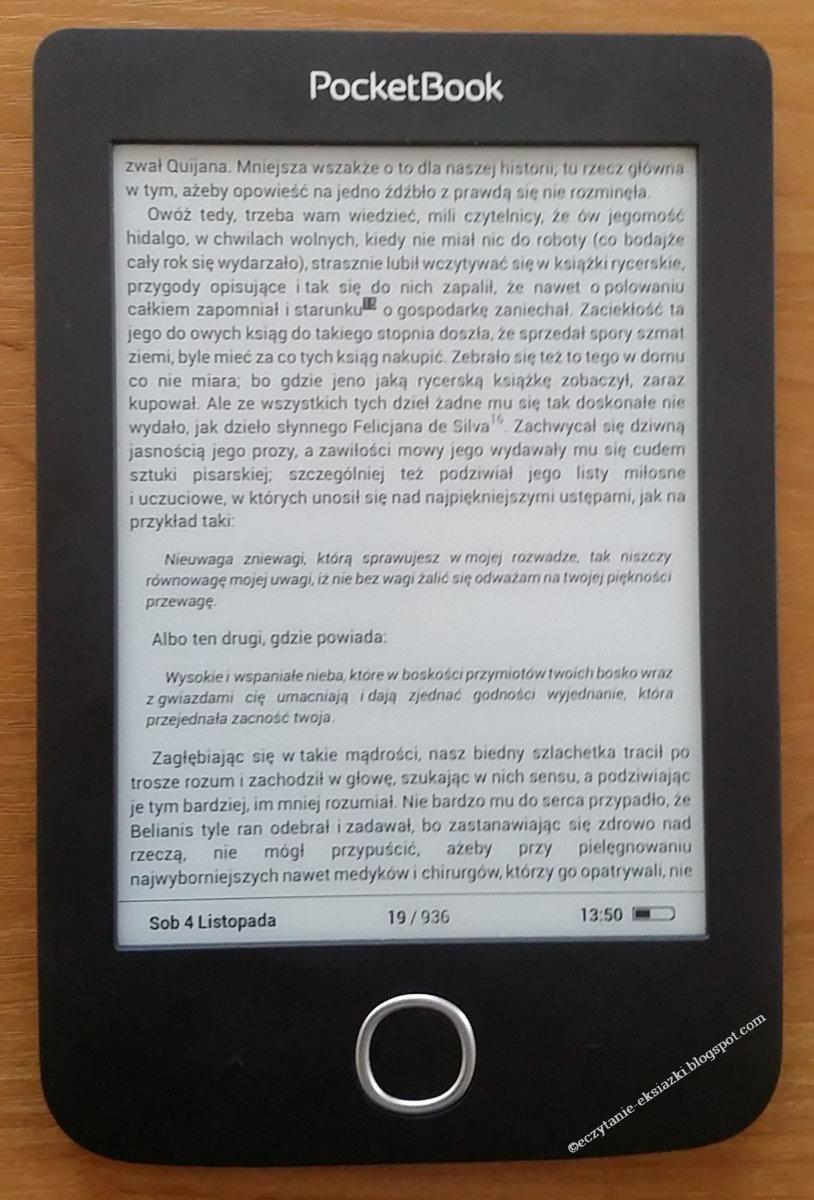 PocketBook Basic 3 - wybieranie przypis. Wybrany przypis zaznaczony czarnym tłem.