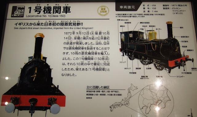 イギリスから初めて輸入した蒸気機関車の説明板