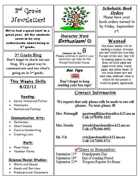 Anderson 3rd grade newsletter 8 22 for 5th grade newsletter template