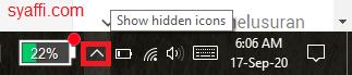 49. Menggeser kursor ke hidden icon pada action center Windows 10 syaffi com