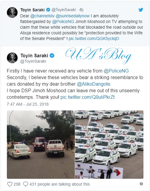 Police spokesperson Jimoh Moshood lied against me - Saraki's wife says no vehicle attached to her