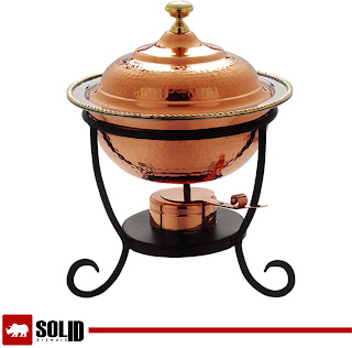 Old Dutch Round Copper Chafing Dish