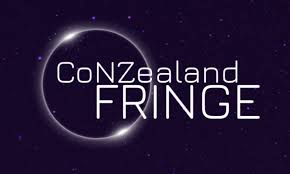 CoNZealand fringe logo: white writing on a space themed purple background