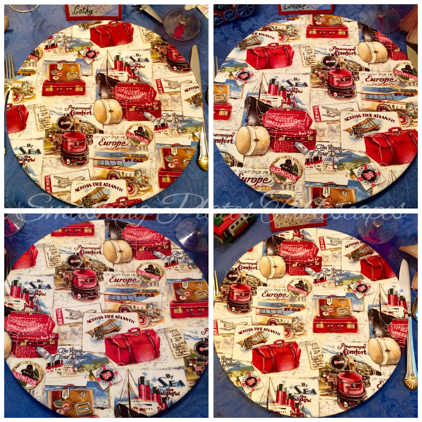 Smashing plates tablescapes over the river and through for Space themed fabric hobby lobby