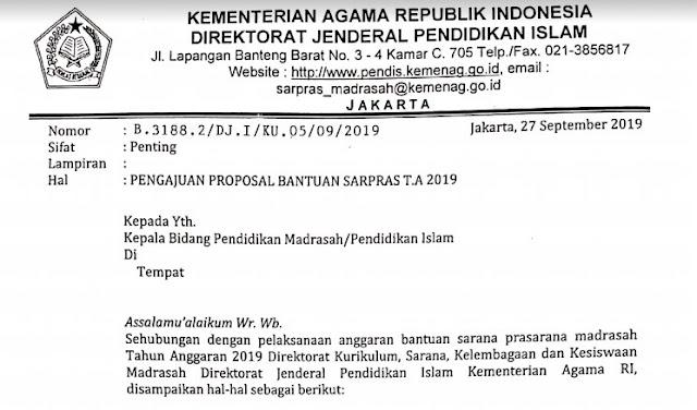 Info Penting Pengajuan Proposal Bantuan Sarana Dan Prasarana Madrasah 2019